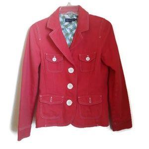 Womens Boden Red Button Down 100% Cotton Blazer
